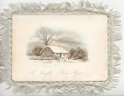 A BRIGHT NEW YEAR snow scene, cottage in front of tree, bushes behind