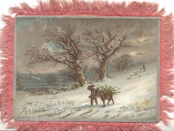 WITH HEARTIEST WISHES FOR A HAPPY CHRISTMAS rural snow scene, boy & donkey walk down hill, trees behind