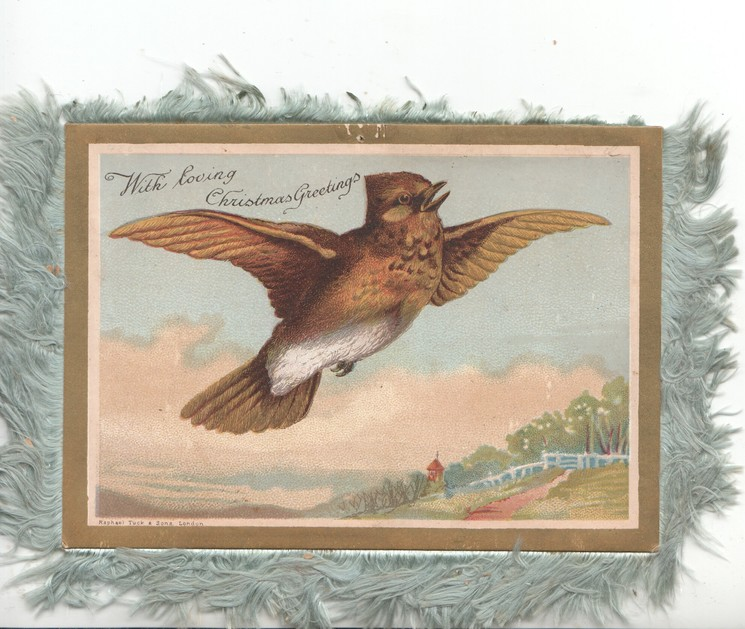 WITH LOVING CHRISTMAS GREETINGS brown meadow-lark flies up  right, distant rural scene