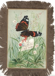 A HAPPY CHRISTMASTIDE on white card among blue campanulas & many other flowers, black & yellow butterfly above