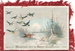 WISHING YOU A HAPPY CHRISTMAS 8 bluebirds of happiness fly down from left, snowy rural scene rural scene