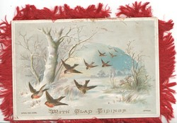 WITH GLAD TIDINGS 10 bluebirds of happiness fly down from right, snowy rural scene rural scene, tree left
