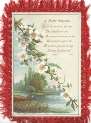 A HAPPY CHRISTMAS   verse  view across river to TWICKENHAM FERRY, white apple blossom front & back