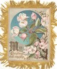 MAY CHRISTMAS BELLS RING JOY TO THEE pink and white roses against blue circular inset