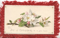 THE JOY OF CHRISTMAS BE IN YOUR HEART below apple blossom on horizontal branch