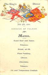 1902-JULY 5th, 1902, THE KING'S DINNER, BOROUGH OF FULHAM