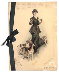 1911-MERCREDI LE 8 MARS 1911, glamorous woman stands with sporting dogs