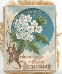 WISHING YOU A HAPPY CHRISTMAS (illuminated) below circular overlaid blue , white wild roses