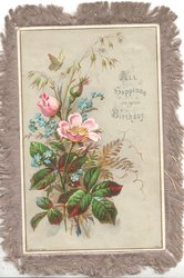 ALL HAPPINESS ON YOUR BIRTHDAY above right pink wild roses & forget-me-nots, butterfly above