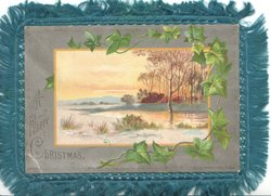 A HAPPY CHRISTMAS on silver margin, ivy round inset rural sunset