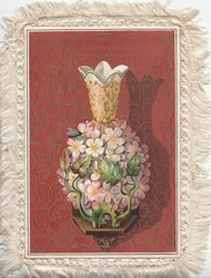 A HAPPY CHRISTMASTIDE in panel above stylised roses decorating china vase in front of brown & gilt designed background