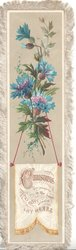 CHRISTMAS  MAY PEACE BE IN THY HOME AND JOY WITHIN THY HEART on tapestry hung from above covered with blue cornflowers