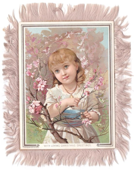 WITH LOVING CHRISTMAS GREETINGS blue eyed girl poses amid cherry blossom tree