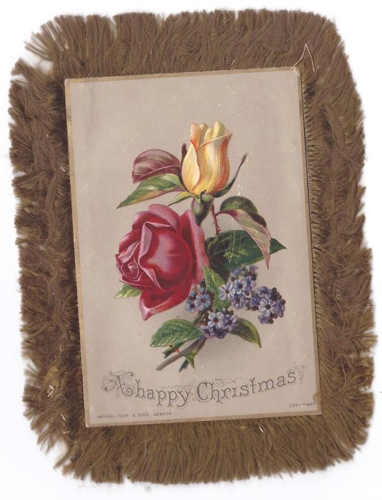 A HAPPY CHRISTMAS red & yellow rose, small purple flowers below, gilt border