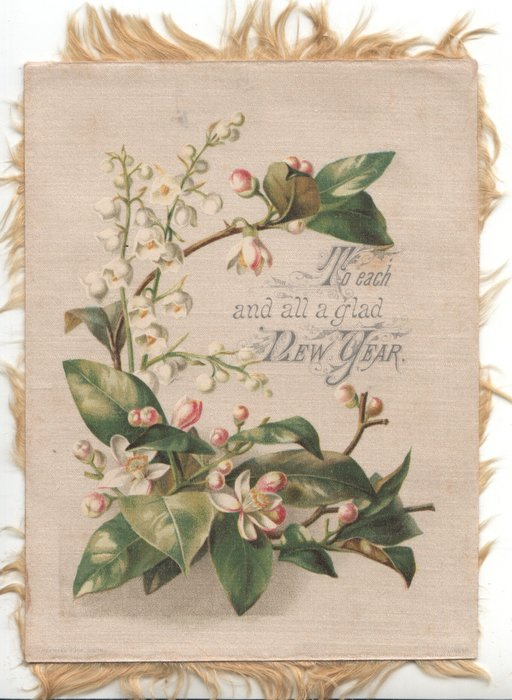 TO EACH AND ALL A GLAD NEW YEAR left, lilies of the valley right