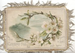 TRUE CHRISTMAS JOYS BE YOURS IN HEART AND HOME apple blossom frames rural lake