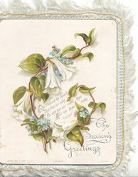 THE SEASON'S GREETINGS in silver, forget-me-nots &  white mornig glory round verse
