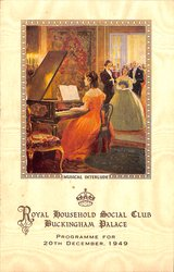 1949 PROGRAMME FOR 20TH DECEMBER, young lady in red gown plays piano