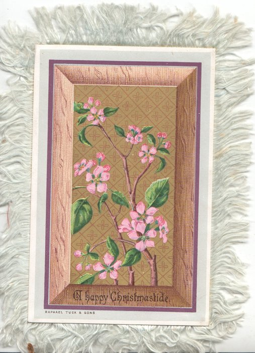 A HAPPY CHRISTMASTIDE below pink apple blossom over brown panel