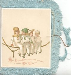 MAY CAPTAIN CHRISTMAS LAND YOU INTO A HAPPY NEW YEAR 4 children sit on rope