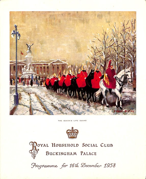 1958 PROGRAMME FOR 16TH DECEMBER 1958 THE QUEEN'S LIFE GUARD