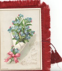 WISHING YOU A HAPPY CHRISTMAS  forget-me-nots, pink bow