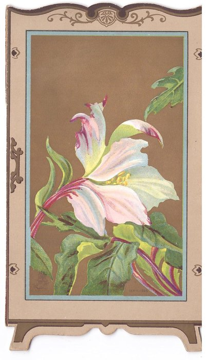 CHRISTMAS WITHOUT AND WITHIN inset peony with prominent stems on gilt background