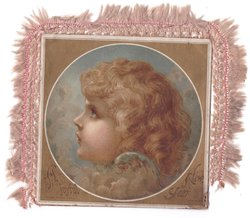 A JOYFUL NEW YEAR circular inset: angel head faces & looks left and up, gilt corners