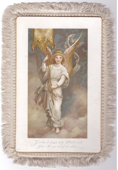 IF YE THEN BE RISEN WITH CHRIST, SEEK THOSE THINGS WHICH ARE ABOVE  angel holds banner