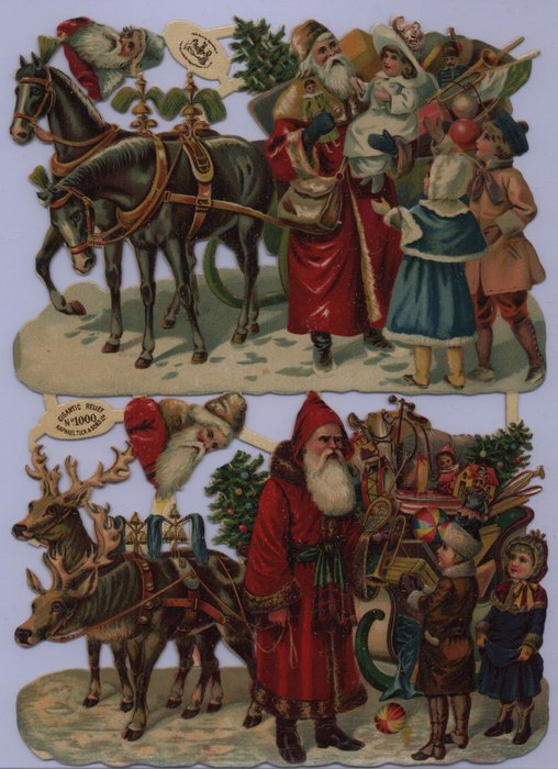 Santas with sleigh full of toys