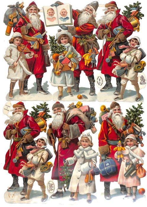 Santas with children