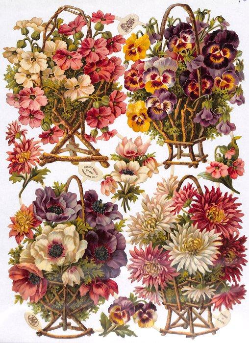 flowers in wicker stands