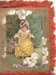 A BRIGHT AND HAPPY CHRISTMAS round gilt bordered inset girl in yellow dress seated in garden, pink roses left