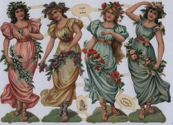 ladies with floral garlands and headbands