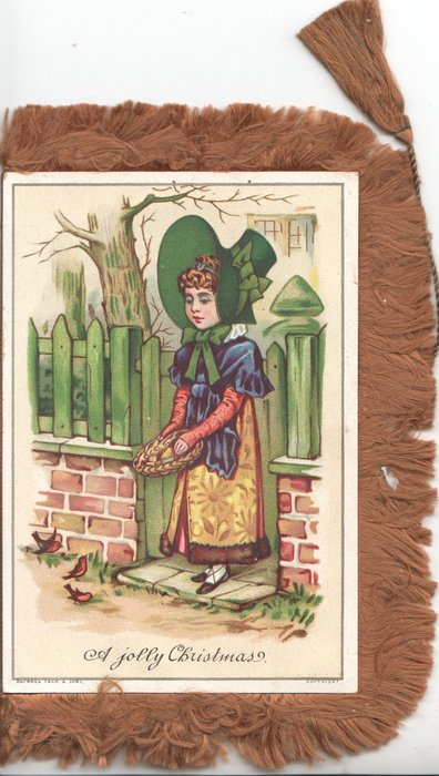 A JOLLY CHRISTMAS below girl in old style dress standing in gateway feeding birds