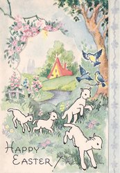 HAPPY EASTER! 4 lambs below perforated window with rural scene, 3 bluebirds of happiness right