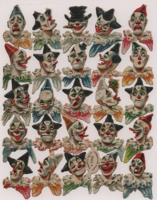 heads and shoulders of clowns