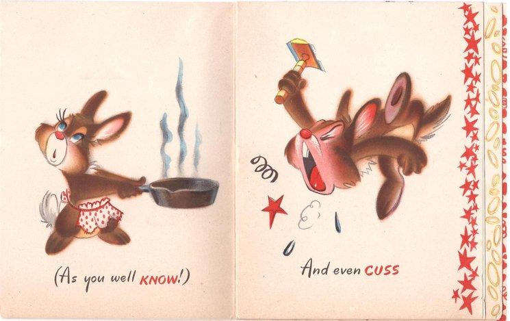 BIRTHDAY GREETING TO MY WIFE -- SOMETIMES I FUSS disgruntled shaving rabbit points at razor