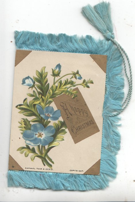 A HAPPY CHRISTMAS on gilt inset, baby blue eyes flowers left