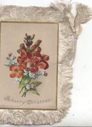 A MERRY CHRISTMAS below wallflowers & forget-me-nots