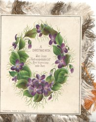 A CHRISTMAS WISH MAY JESUS GODS UNSPEAKABLE GIFT EVER BE PRECIOUS UNTO THEE  wreath of violets