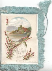 A BLITHE NEW YEAR BE THINE FOR AULD LANG SYNE below watery rural inset, purple heather