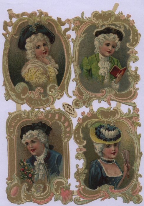 cameo portraits of well dressed people, elaborate gold frames