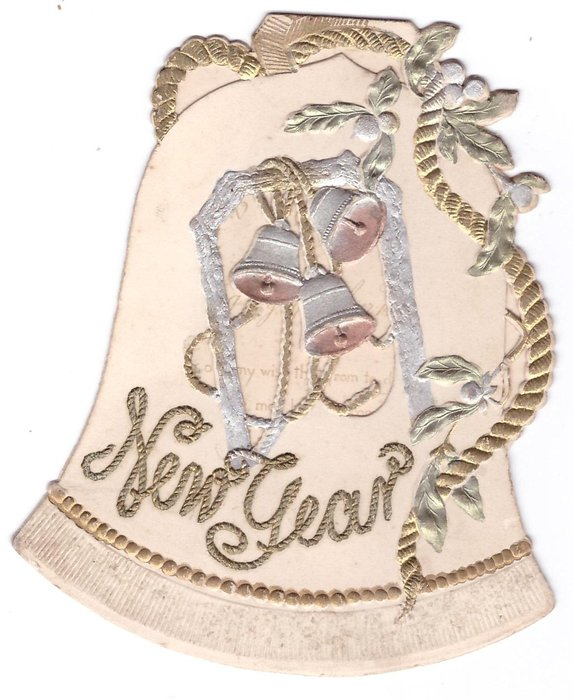 NEW YEAR glittered, embossed, die-cut bell with 3 perforated bells centre