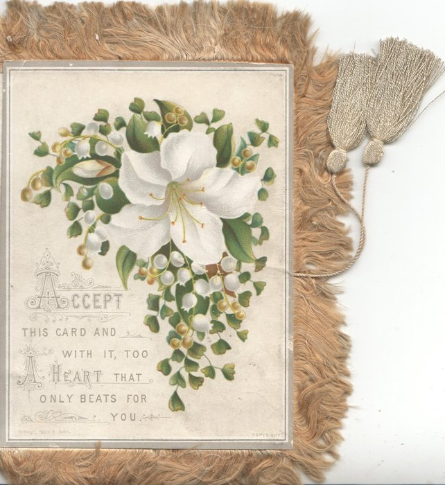ACCEPT THIS CARD AND WITH IT, TOO A HEART THAT ONLY BEATS FOR YOU.white lily, lilies of the valley & ginkgo leaves