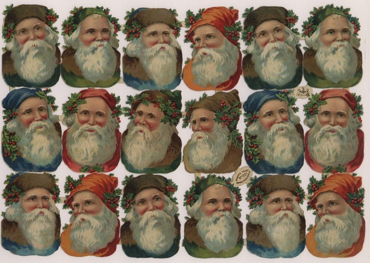 Santa heads with large beards, holly and hats