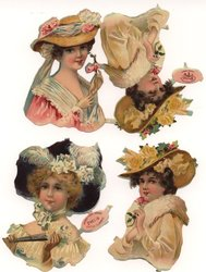 heads and shoulders of pretty ladies with elaborate hats
