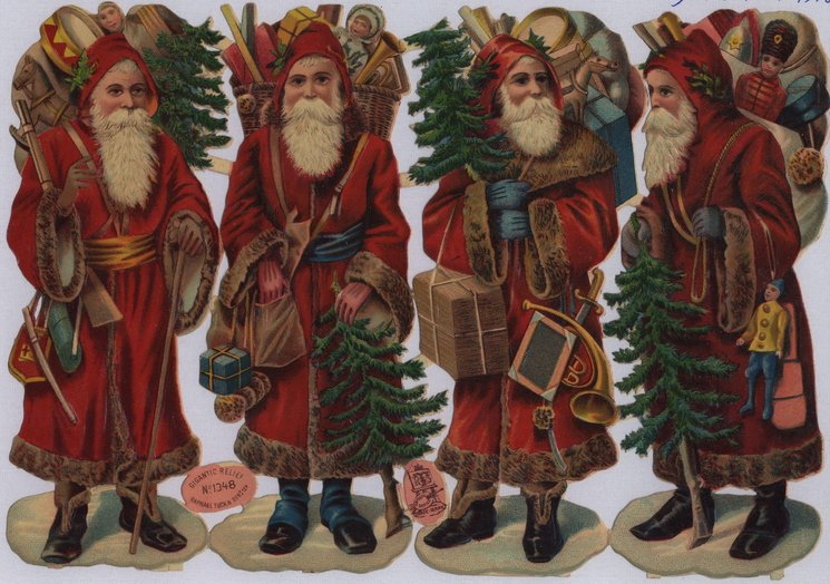 Santas with toys and trees