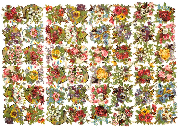 flowers with paint palettes, flowers with butterflies