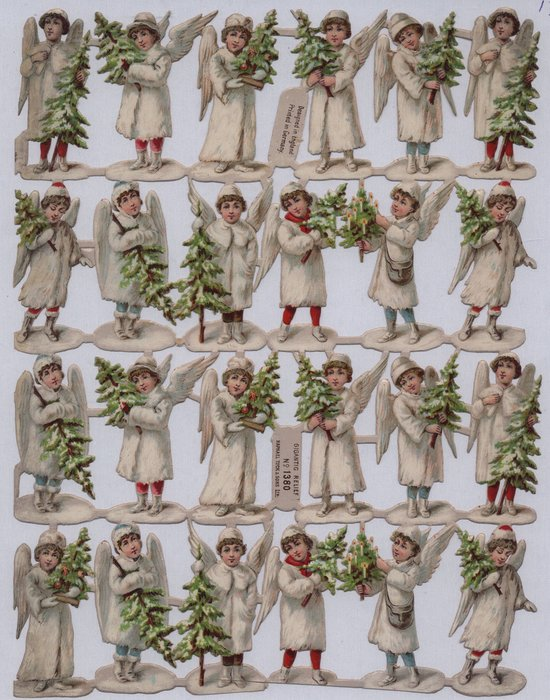 children as angels dressed in white carrying trees